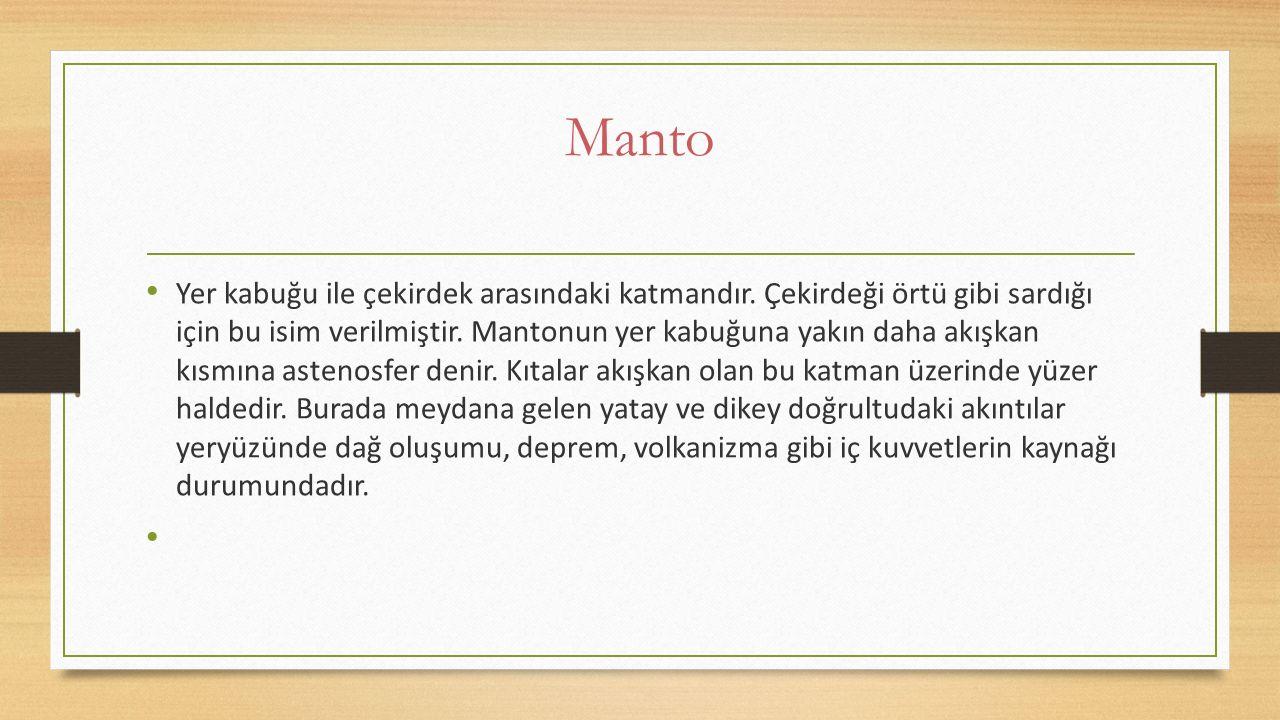 Manto Yer kabuğu ile çekirdek arasındaki katmandır. Çekirdeği örtü gibi sardığı için bu isim verilmiştir. Mantonun yer kabuğuna yakın daha akışkan kı