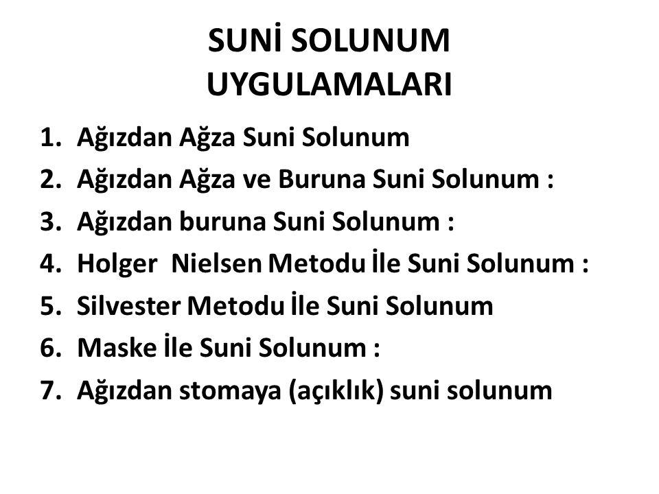 SUNİ SOLUNUM UYGULAMALARI 1.Ağızdan Ağza Suni Solunum 2.Ağızdan Ağza ve Buruna Suni Solunum : 3.Ağızdan buruna Suni Solunum : 4.Holger Nielsen Metodu