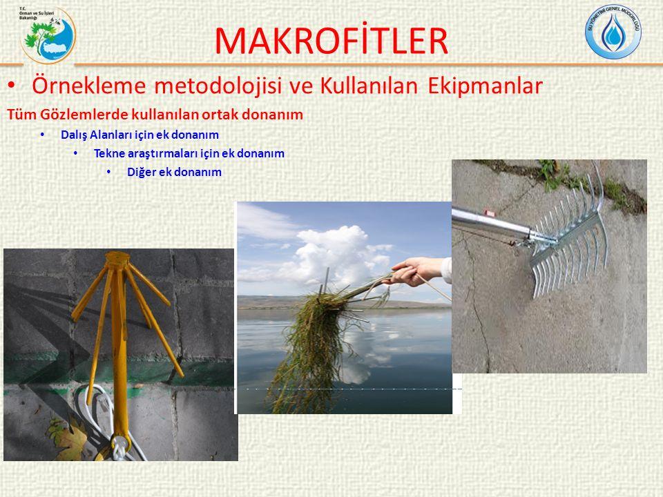 MAKROFİTLER Örnekleme metodolojisi ve Kullanılan Ekipmanlar Tüm Gözlemlerde kullanılan ortak donanım Dalış Alanları için ek donanım Tekne araştırmaları için ek donanım Diğer ek donanım