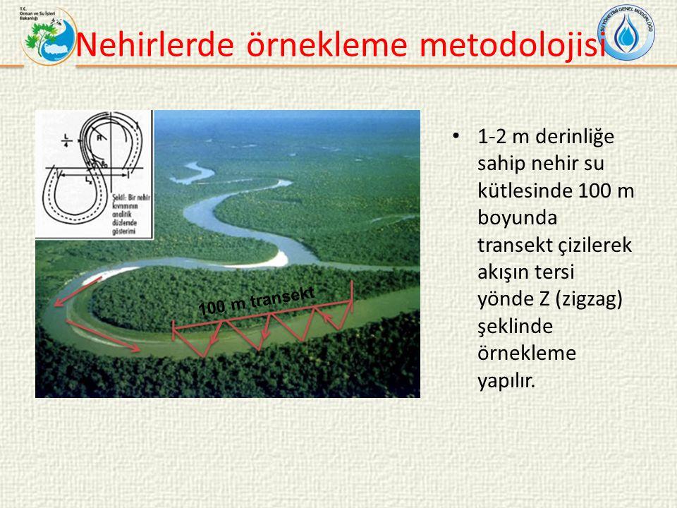 Nehirlerde örnekleme metodolojisi 1-2 m derinliğe sahip nehir su kütlesinde 100 m boyunda transekt çizilerek akışın tersi yönde Z (zigzag) şeklinde örnekleme yapılır.