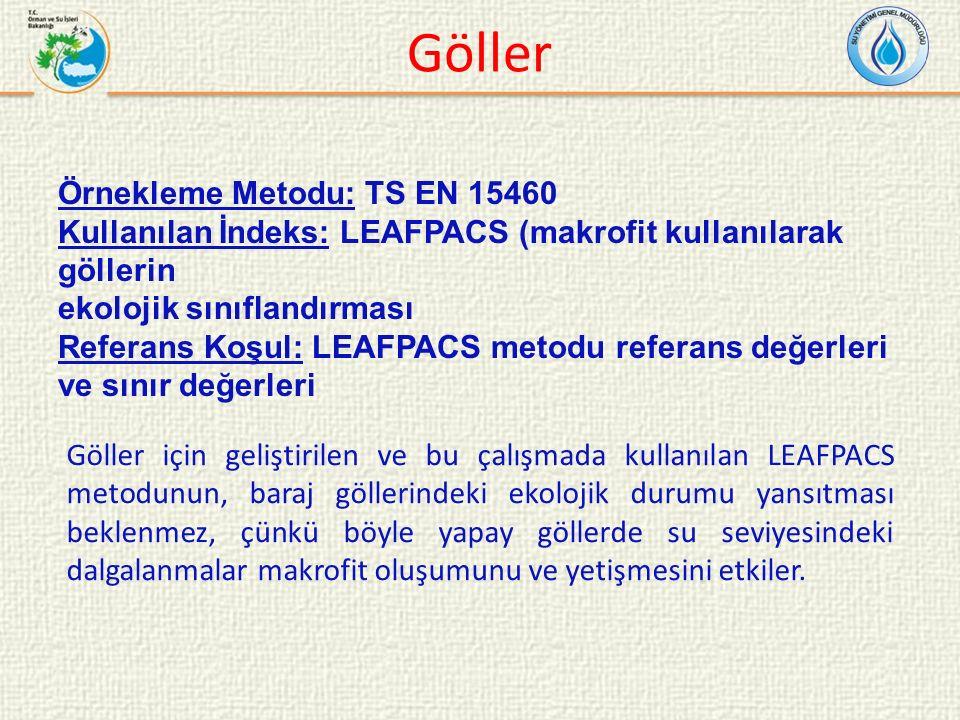 Göller Örnekleme Metodu: TS EN 15460 Kullanılan İndeks: LEAFPACS (makrofit kullanılarak göllerin ekolojik sınıflandırması Referans Koşul: LEAFPACS metodu referans değerleri ve sınır değerleri Göller için geliştirilen ve bu çalışmada kullanılan LEAFPACS metodunun, baraj göllerindeki ekolojik durumu yansıtması beklenmez, çünkü böyle yapay göllerde su seviyesindeki dalgalanmalar makrofit oluşumunu ve yetişmesini etkiler.