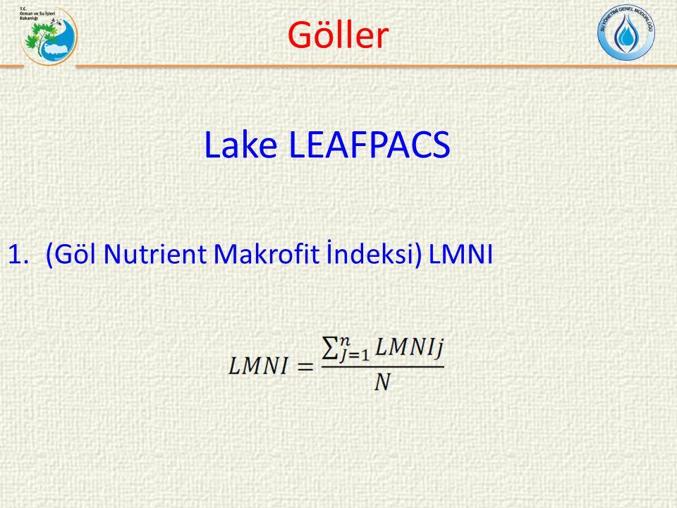 Lake LEAFPACS 1.(Göl Nutrient Makrofit İndeksi) LMNI