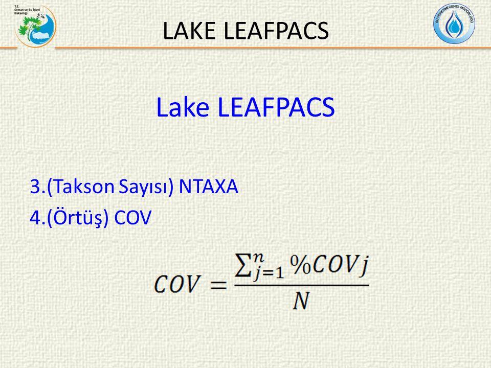 LAKE LEAFPACS Lake LEAFPACS 3.(Takson Sayısı) NTAXA 4.(Örtüş) COV