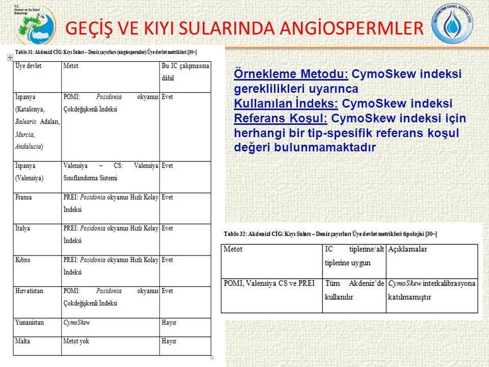 GEÇİŞ VE KIYI SULARINDA ANGİOSPERMLER Örnekleme Metodu: CymoSkew indeksi gereklilikleri uyarınca Kullanılan İndeks: CymoSkew indeksi Referans Koşul: CymoSkew indeksi için herhangi bir tip-spesifik referans koşul değeri bulunmamaktadır