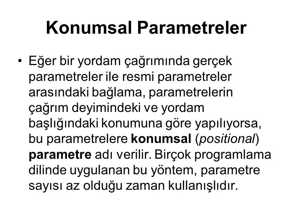 Konumsal Parametreler Eğer bir yordam çağrımında gerçek parametreler ile resmi parametreler arasındaki bağlama, parametrelerin çağrım deyimindeki ve y