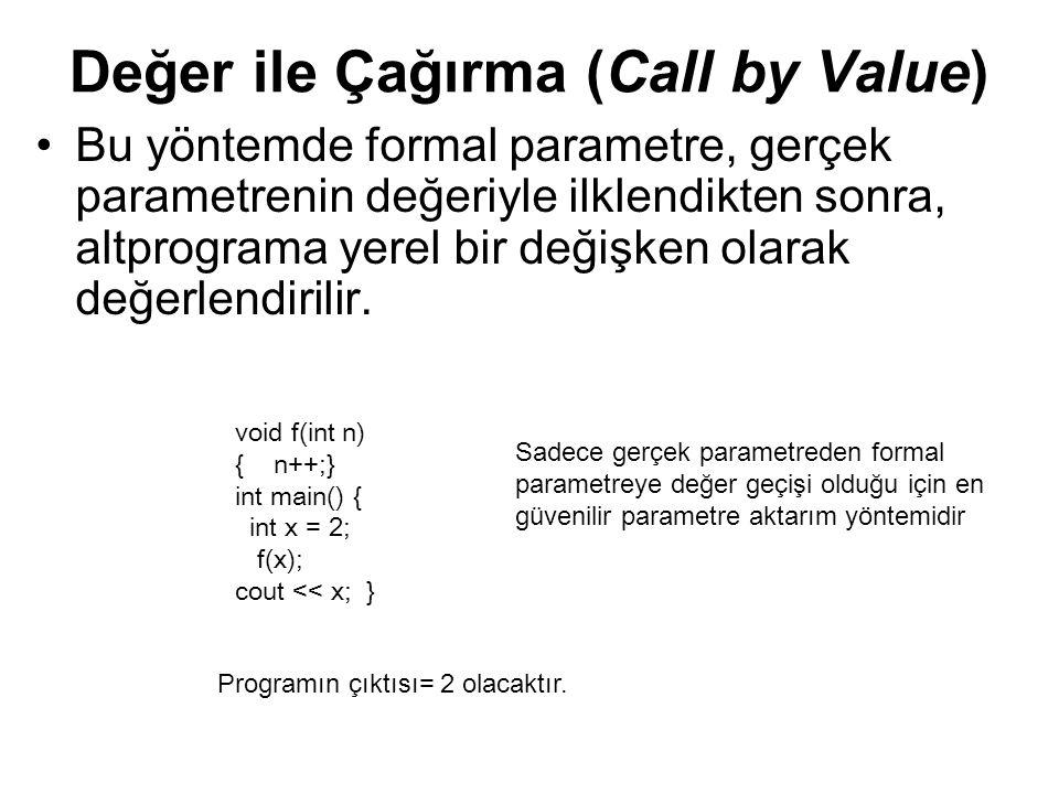 Değer ile Çağırma (Call by Value) Bu yöntemde formal parametre, gerçek parametrenin değeriyle ilklendikten sonra, altprograma yerel bir değişken olara