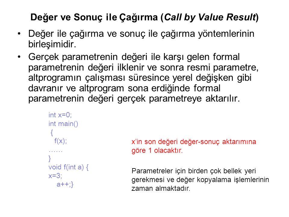 Değer ve Sonuç ile Çağırma (Call by Value Result) Değer ile çağırma ve sonuç ile çağırma yöntemlerinin birleşimidir. Gerçek parametrenin değeri ile ka