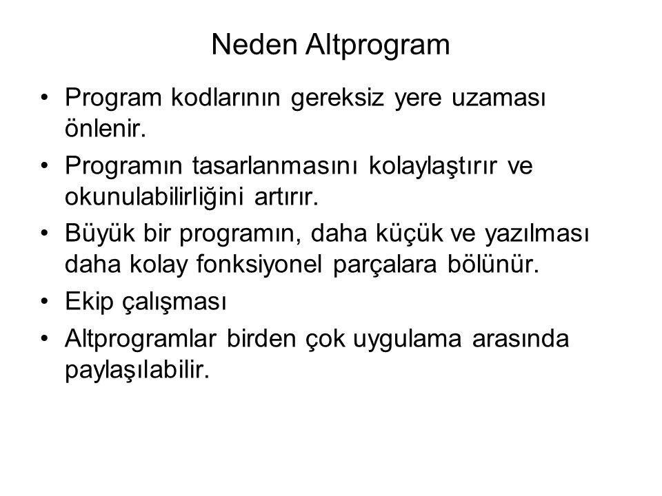 Neden Altprogram Program kodlarının gereksiz yere uzaması önlenir. Programın tasarlanmasını kolaylaştırır ve okunulabilirliğini artırır. Büyük bir pro