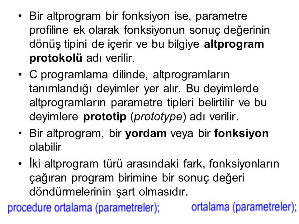 Bir altprogram bir fonksiyon ise, parametre profiline ek olarak fonksiyonun sonuç değerinin dönüş tipini de içerir ve bu bilgiye altprogram protokolü