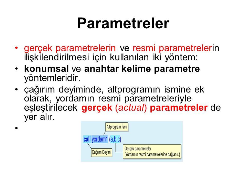 Parametreler gerçek parametrelerin ve resmi parametrelerin ilişkilendirilmesi için kullanılan iki yöntem: konumsal ve anahtar kelime parametre yönteml