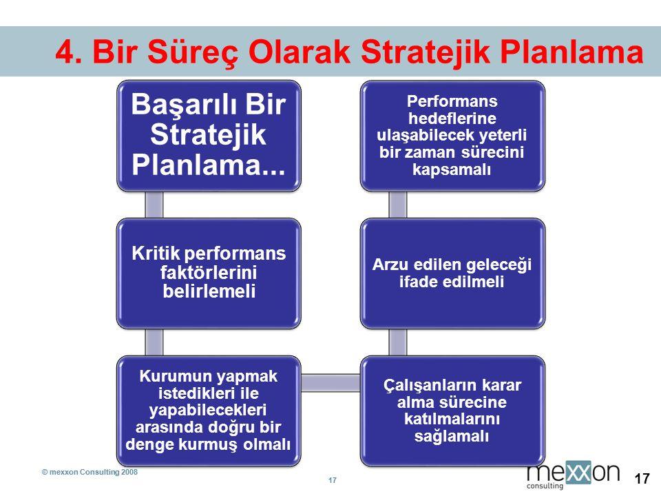 © mexxon Consulting 2008 17 © mexxon Consulting 2008 17 4. Bir Süreç Olarak Stratejik Planlama Başarılı Bir Stratejik Planlama... Kritik performans fa