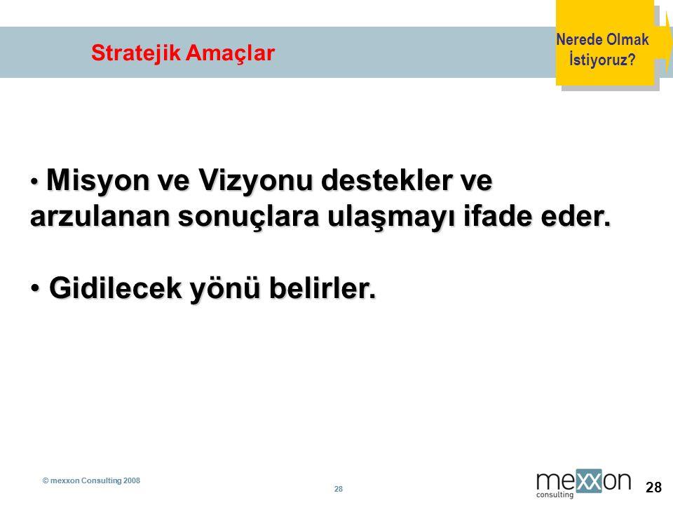 © mexxon Consulting 2008 28 © mexxon Consulting 2008 28 Stratejik Amaçlar Nerede Olmak İstiyoruz? Misyon ve Vizyonu destekler ve arzulanan sonuçlara u