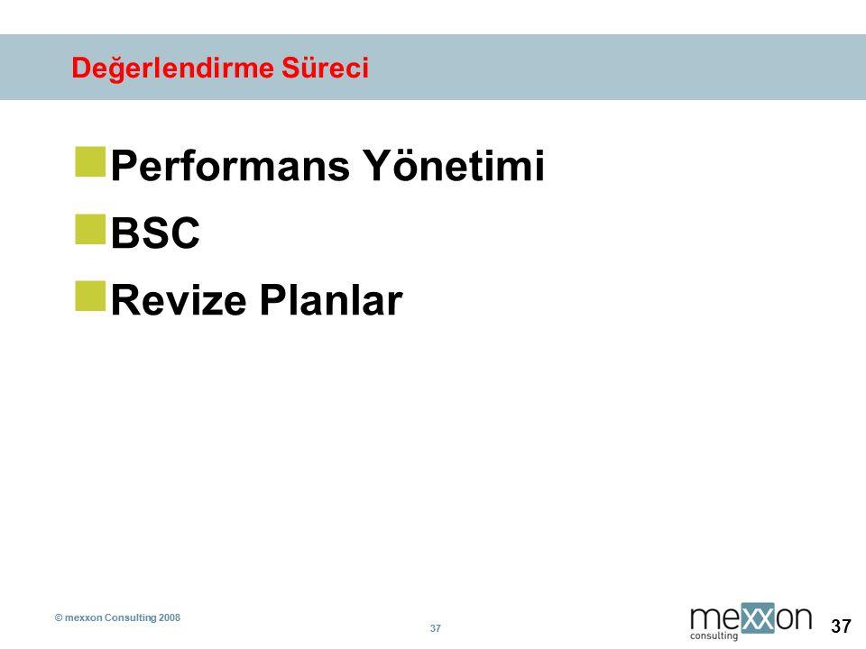 © mexxon Consulting 2008 37 © mexxon Consulting 2008 37 Değerlendirme Süreci Performans Yönetimi BSC Revize Planlar