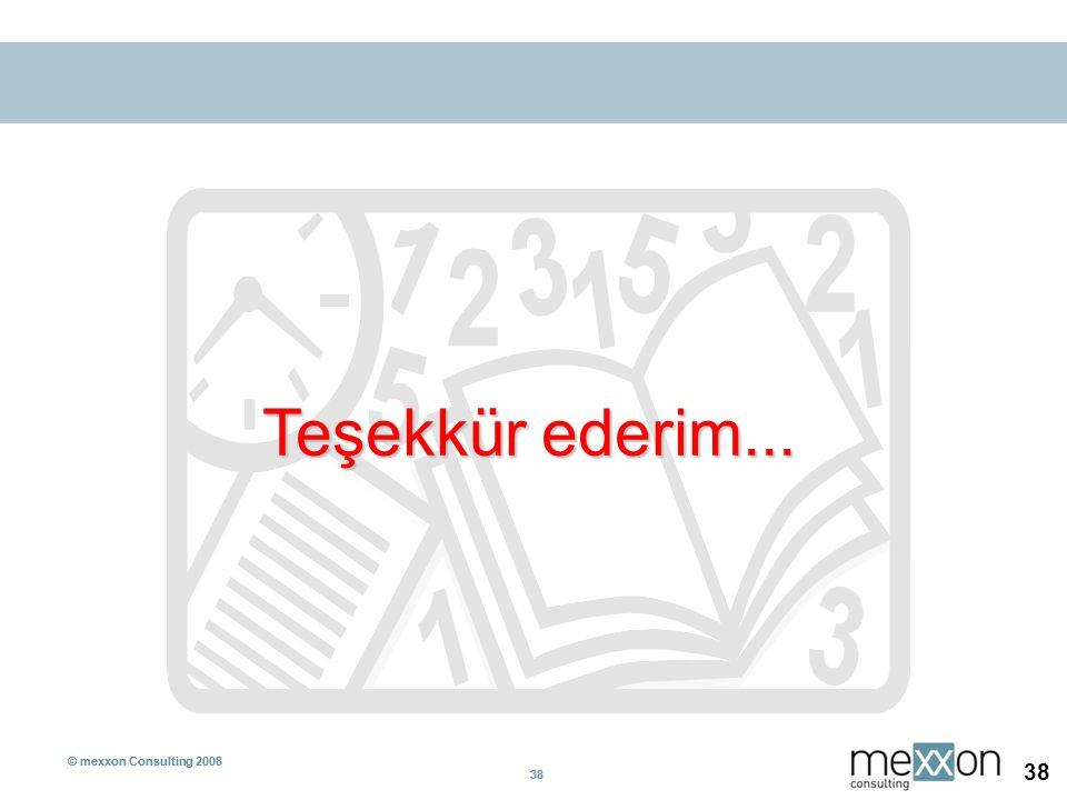 © mexxon Consulting 2008 38 © mexxon Consulting 2008 38 Teşekkür ederim...