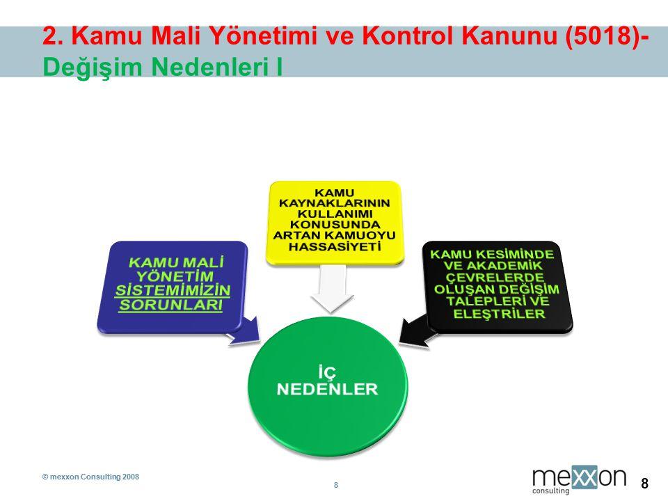 © mexxon Consulting 2008 8 8 8 2. Kamu Mali Yönetimi ve Kontrol Kanunu (5018)- Değişim Nedenleri I