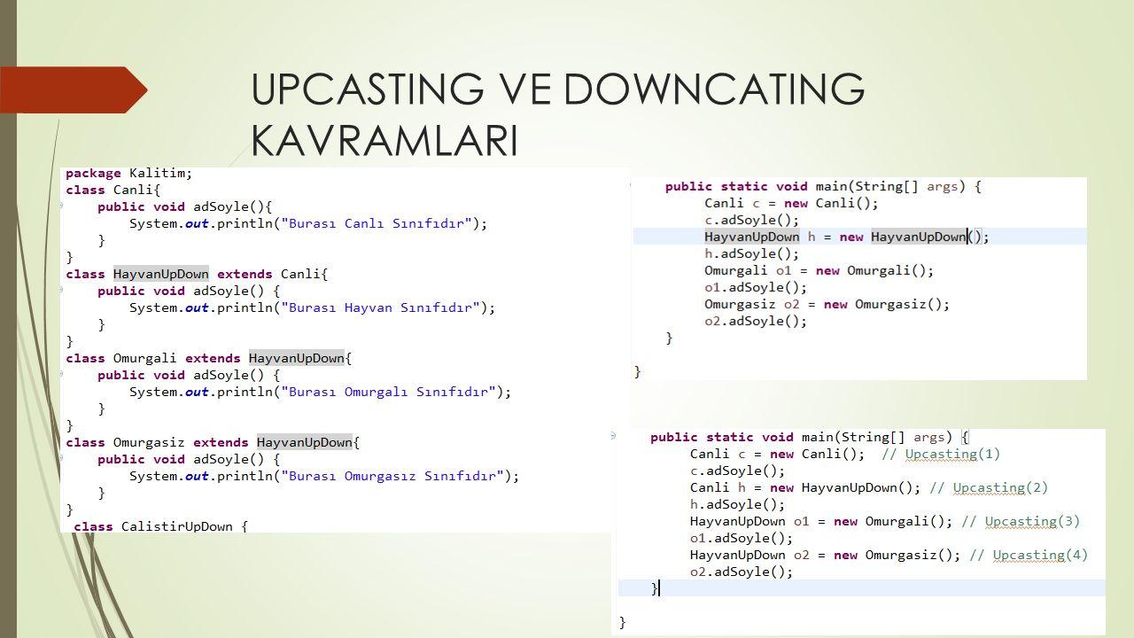UPCASTING VE DOWNCATING KAVRAMLARI