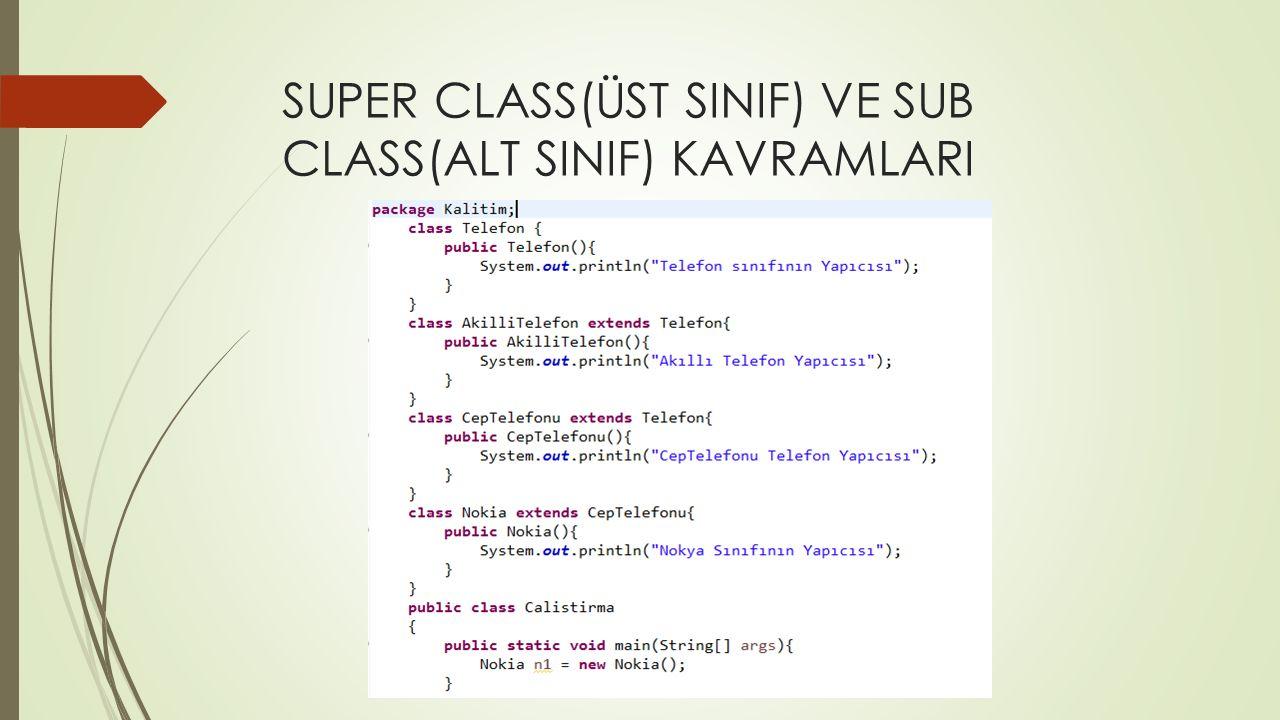 SUPER CLASS(ÜST SINIF) VE SUB CLASS(ALT SINIF) KAVRAMLARI