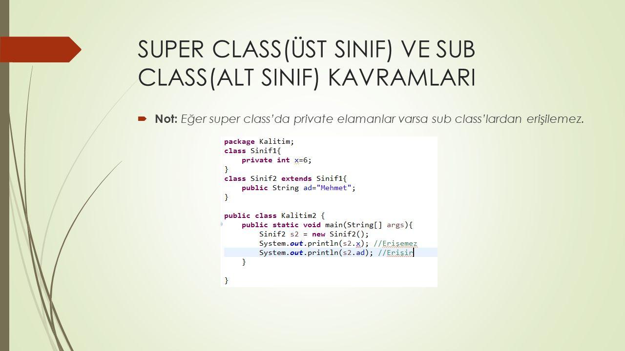  Not: Eğer super class'da private elamanlar varsa sub class'lardan erişilemez.