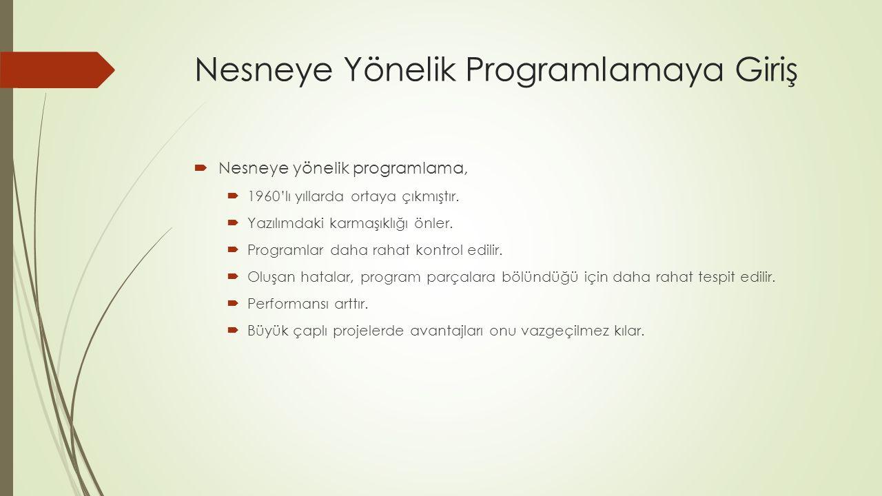 Nesneye Yönelik Programlamaya Giriş  Nesneye yönelik programlama,  1960'lı yıllarda ortaya çıkmıştır.