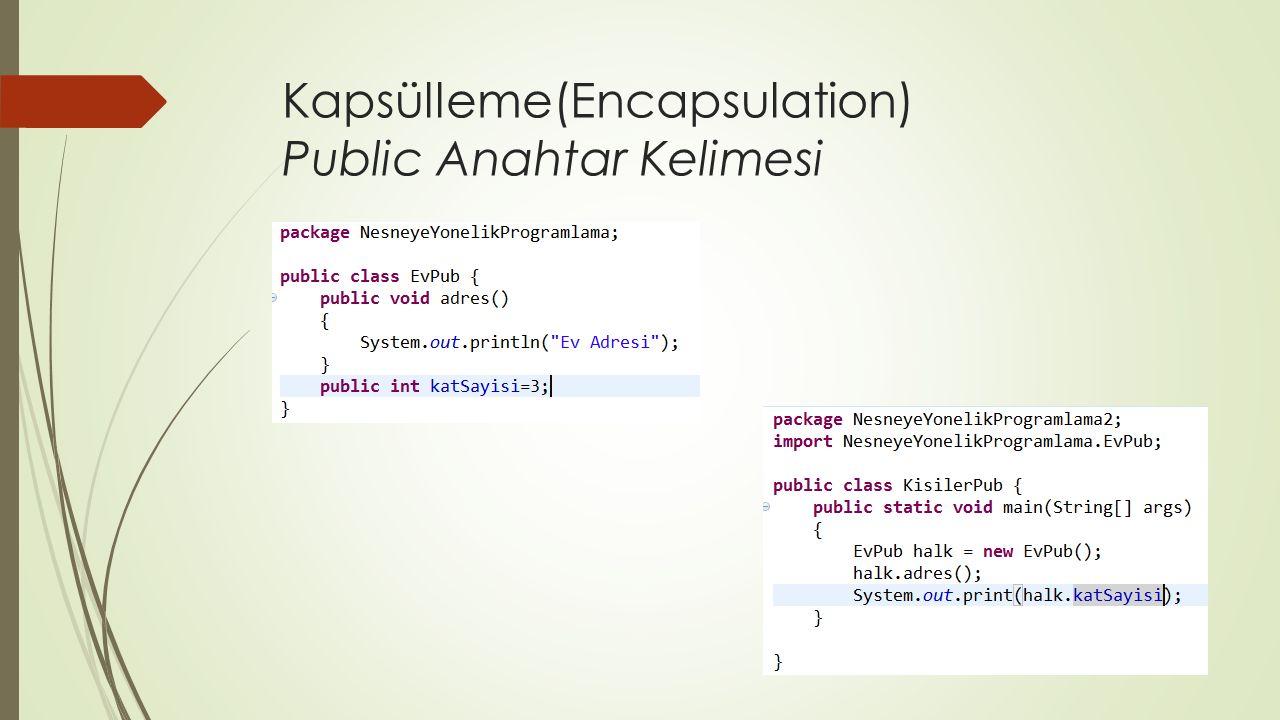 Kapsülleme(Encapsulation) Public Anahtar Kelimesi