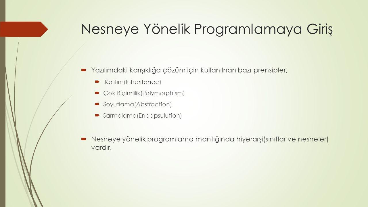 Nesneye Yönelik Programlamaya Giriş  Yazılımdaki karışıklığa çözüm için kullanılnan bazı prensipler,  Kalıtım(Inheritance)  Çok Biçimlilik(Polymorphism)  Soyutlama(Abstraction)  Sarmalama(Encapsulution)  Nesneye yönelik programlama mantığında hiyerarşi(sınıflar ve nesneler) vardır.