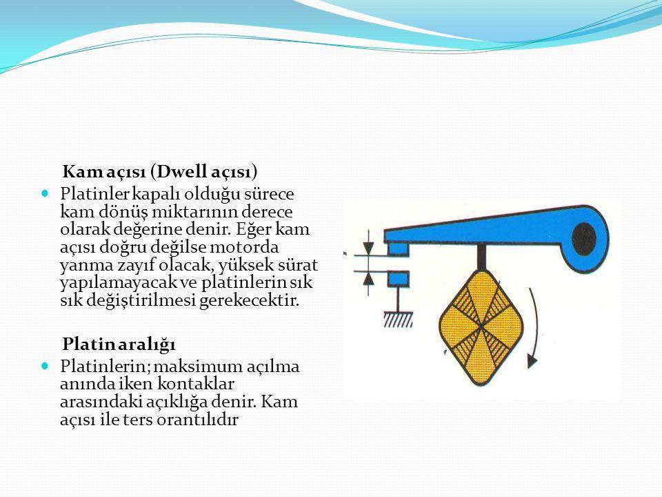 Kam açısı (Dwell açısı) Platinler kapalı olduğu sürece kam dönüş miktarının derece olarak değerine denir. Eğer kam açısı doğru değilse motorda yanma z