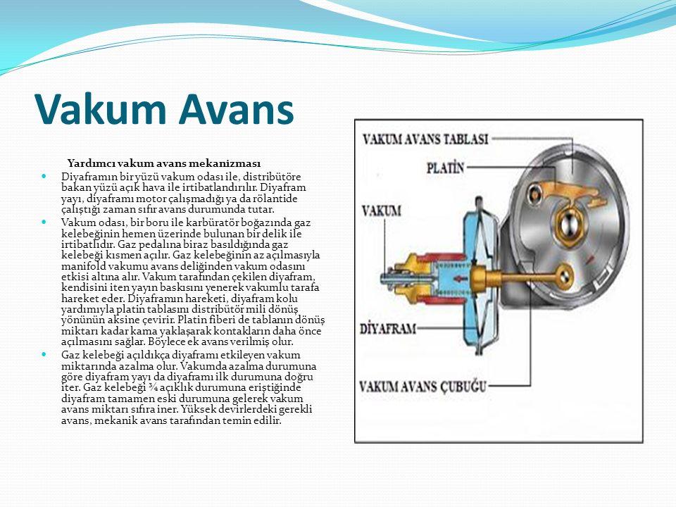 Vakum Avans Yardımcı vakum avans mekanizması Diyaframın bir yüzü vakum odası ile, distribütöre bakan yüzü açık hava ile irtibatlandırılır. Diyafram ya