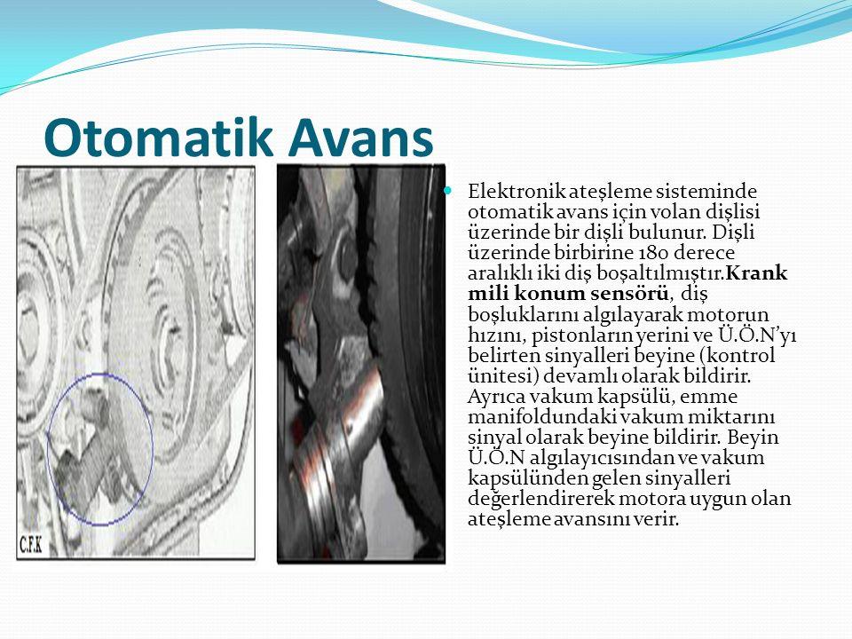 Otomatik Avans Elektronik ateşleme sisteminde otomatik avans için volan dişlisi üzerinde bir dişli bulunur. Dişli üzerinde birbirine 180 derece aralık