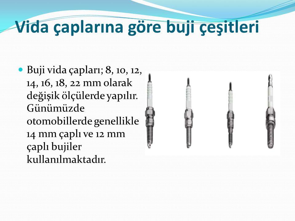 Vida çaplarına göre buji çeşitleri Buji vida çapları; 8, 10, 12, 14, 16, 18, 22 mm olarak değişik ölçülerde yapılır. Günümüzde otomobillerde genellikl