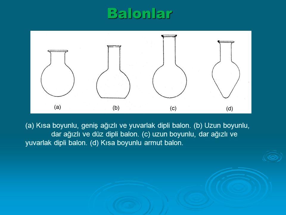 Balonlar (a) Kısa boyunlu, geniş ağızlı ve yuvarlak dipli balon. (b) Uzun boyunlu, dar ağızlı ve düz dipli balon. (c) uzun boyunlu, dar ağızlı ve yuva