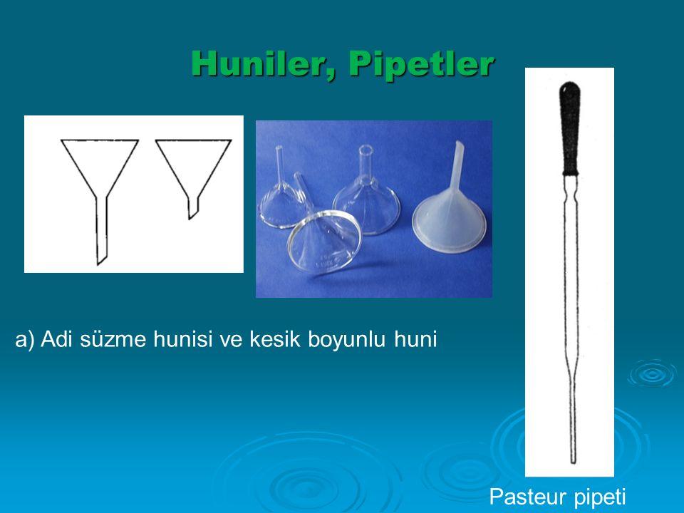 Huniler, Pipetler a) Adi süzme hunisi ve kesik boyunlu huni Pasteur pipeti