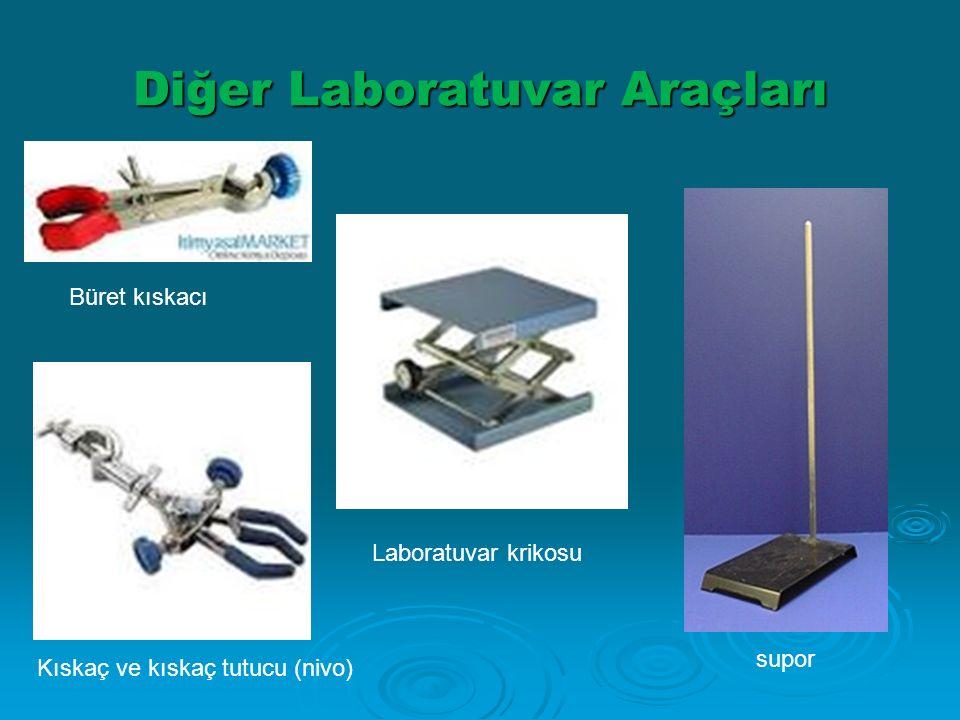 Diğer Laboratuvar Araçları. a) Büret kıskacı b,c) Kıskaç ve kıskaç tutucu (nivo) d) Laboratuvar krikosu Kıskaç ve kıskaç tutucu (nivo) Büret kıskacı L