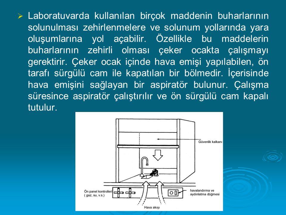   Laboratuvarda kullanılan birçok maddenin buharlarının solunulması zehirlenmelere ve solunum yollarında yara oluşumlarına yol açabilir. Özellikle b