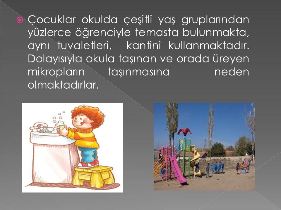  Çocuklar okulda çeşitli yaş gruplarından yüzlerce öğrenciyle temasta bulunmakta, aynı tuvaletleri, kantini kullanmaktadır.