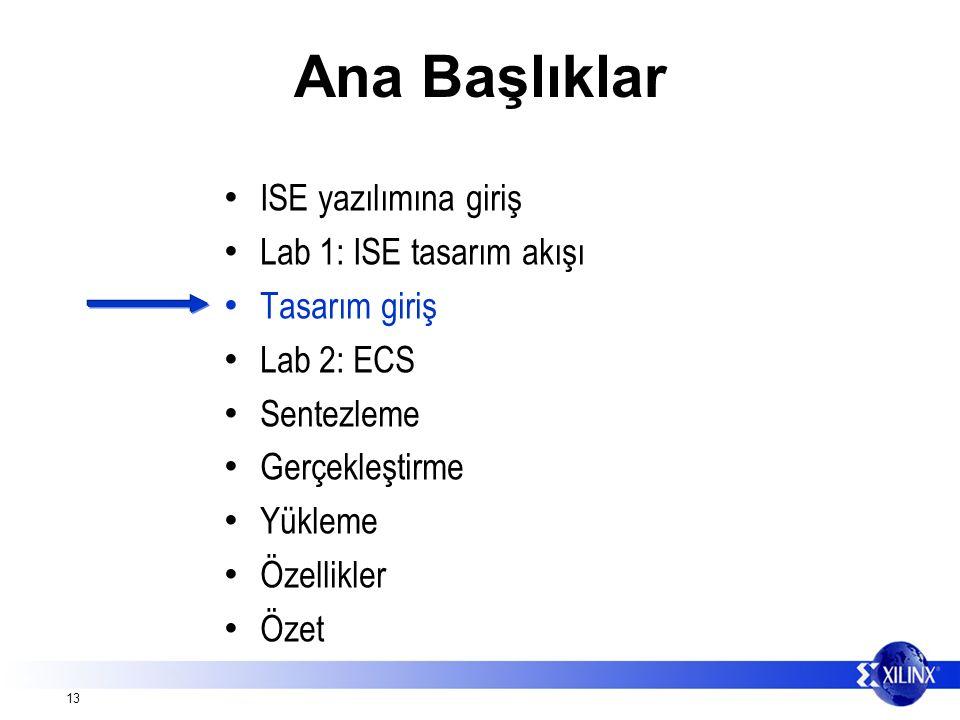 13 Ana Başlıklar ISE yazılımına giriş Lab 1: ISE tasarım akışı Tasarım giriş Lab 2: ECS Sentezleme Gerçekleştirme Yükleme Özellikler Özet