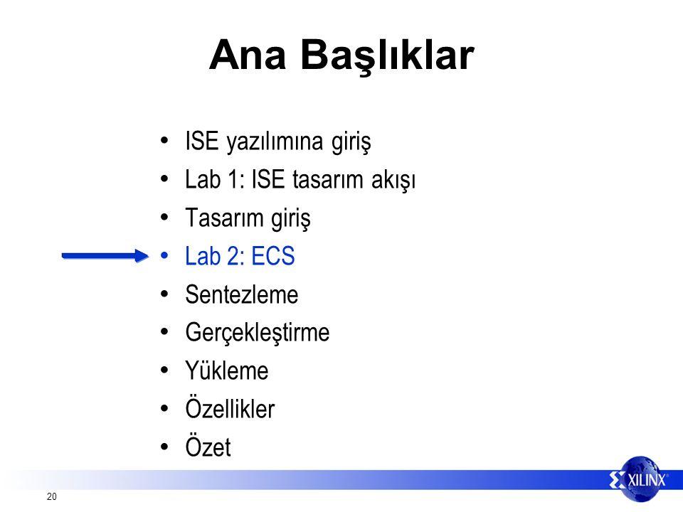 20 Ana Başlıklar ISE yazılımına giriş Lab 1: ISE tasarım akışı Tasarım giriş Lab 2: ECS Sentezleme Gerçekleştirme Yükleme Özellikler Özet