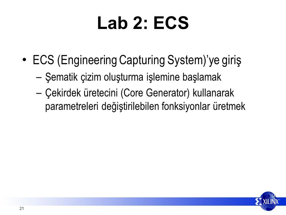 21 Lab 2: ECS ECS (Engineering Capturing System)'ye giriş – Şematik çizim oluşturma işlemine başlamak – Çekirdek üretecini (Core Generator) kullanarak parametreleri değiştirilebilen fonksiyonlar üretmek