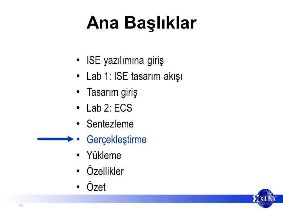 25 Ana Başlıklar ISE yazılımına giriş Lab 1: ISE tasarım akışı Tasarım giriş Lab 2: ECS Sentezleme Gerçekleştirme Yükleme Özellikler Özet