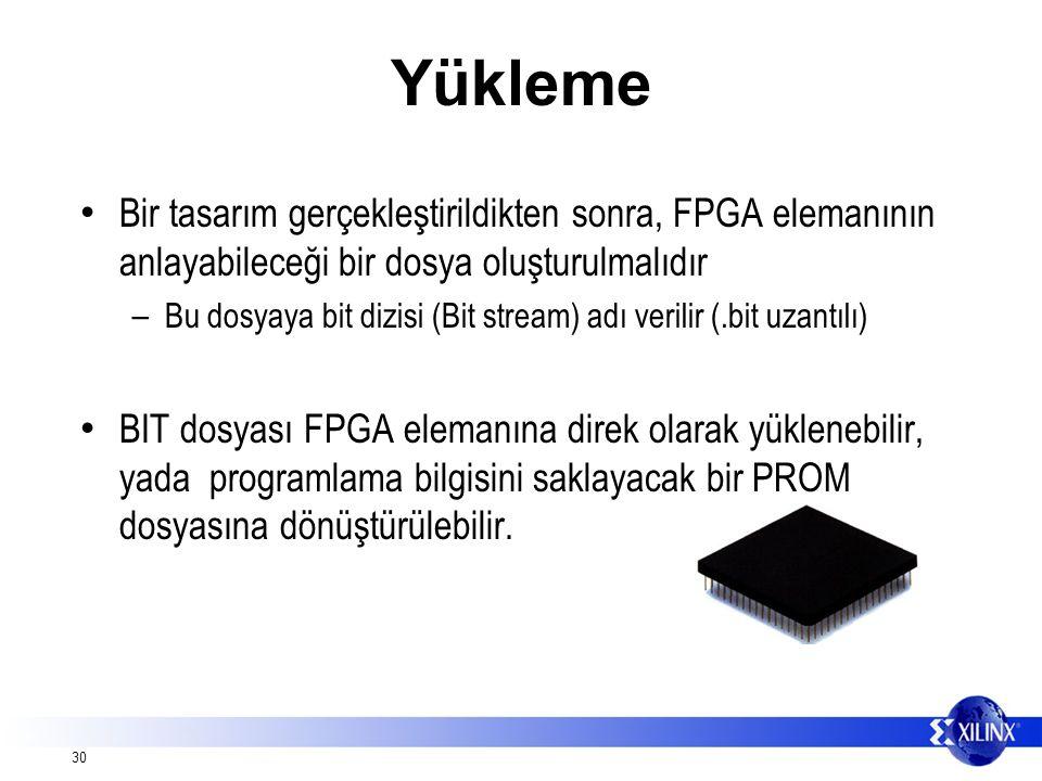 30 Yükleme Bir tasarım gerçekleştirildikten sonra, FPGA elemanının anlayabileceği bir dosya oluşturulmalıdır – Bu dosyaya bit dizisi (Bit stream) adı verilir (.bit uzantılı) BIT dosyası FPGA elemanına direk olarak yüklenebilir, yada programlama bilgisini saklayacak bir PROM dosyasına dönüştürülebilir.