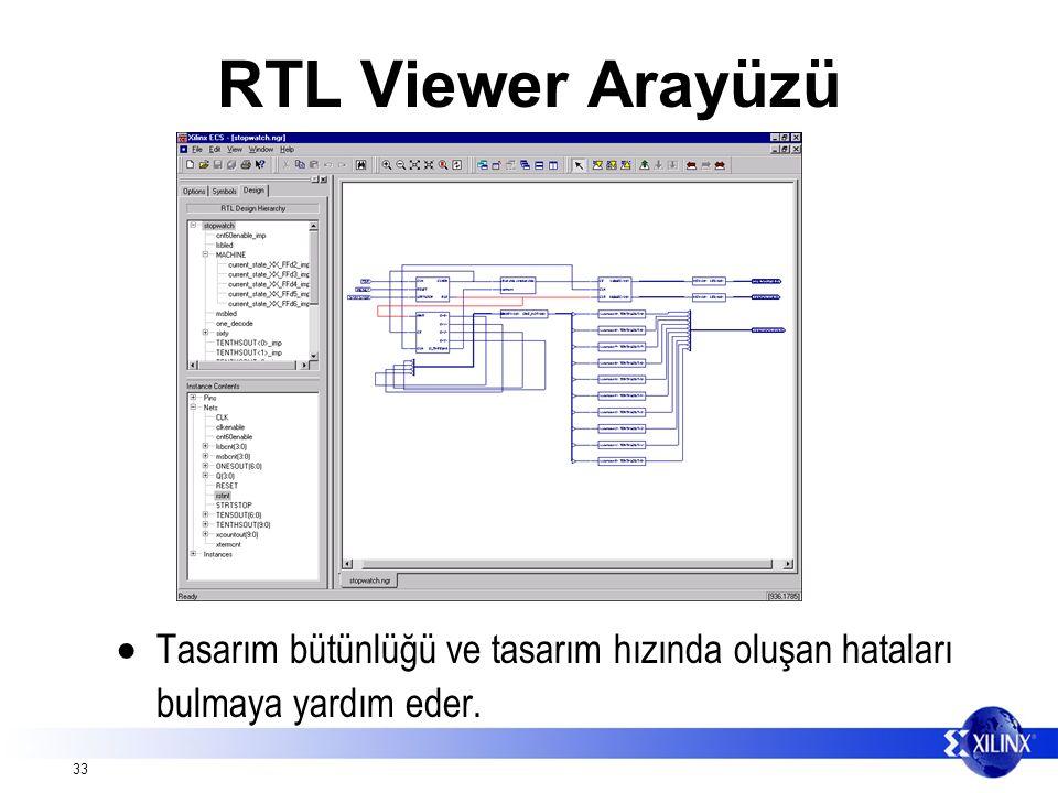 33 RTL Viewer Arayüzü  Tasarım bütünlüğü ve tasarım hızında oluşan hataları bulmaya yardım eder.