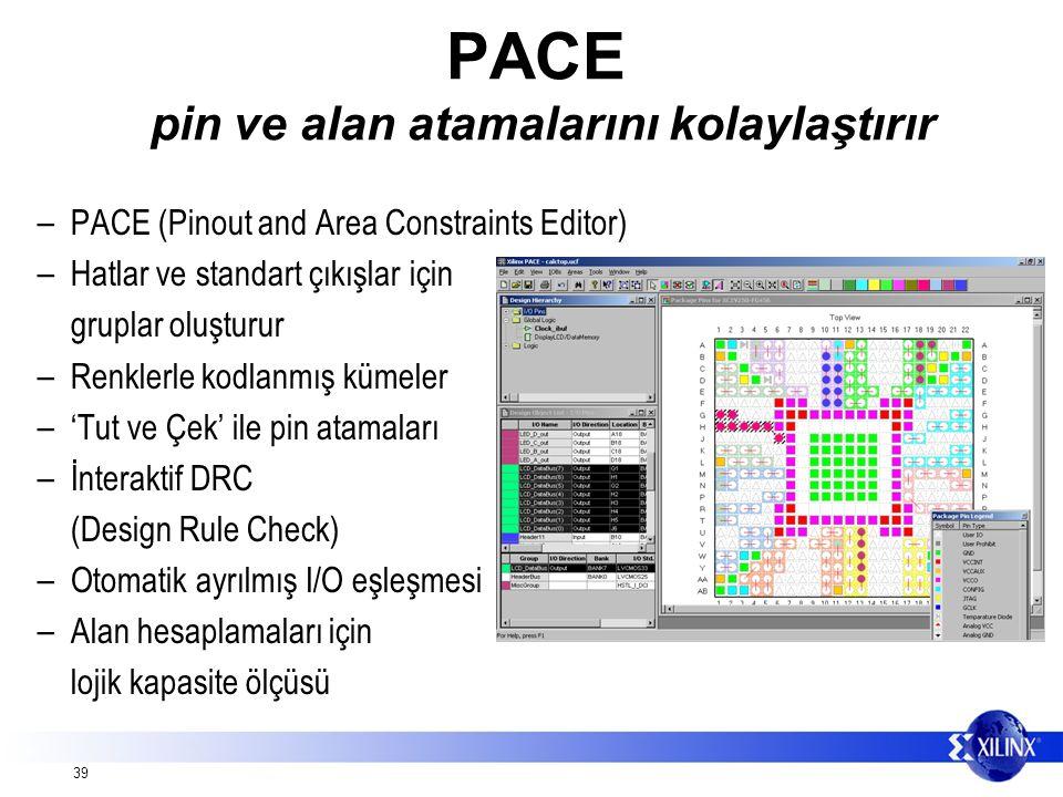 39 PACE pin ve alan atamalarını kolaylaştırır – PACE (Pinout and Area Constraints Editor) – Hatlar ve standart çıkışlar için gruplar oluşturur – Renklerle kodlanmış kümeler – 'Tut ve Çek' ile pin atamaları – İnteraktif DRC (Design Rule Check) – Otomatik ayrılmış I/O eşleşmesi – Alan hesaplamaları için lojik kapasite ölçüsü