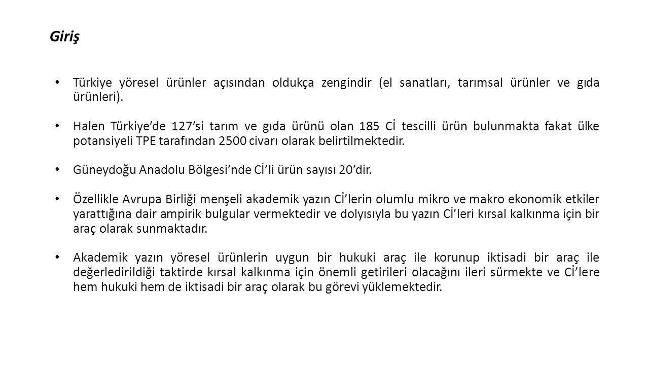 Giriş Türkiye yöresel ürünler açısından oldukça zengindir (el sanatları, tarımsal ürünler ve gıda ürünleri). Halen Türkiye'de 127'si tarım ve gıda ürü