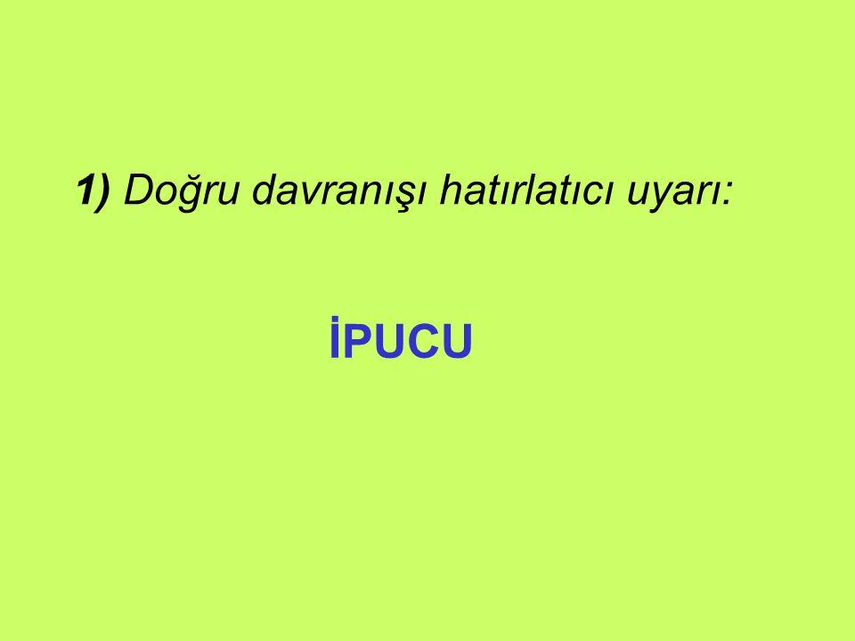 1) Doğru davranışı hatırlatıcı uyarı: İPUCU
