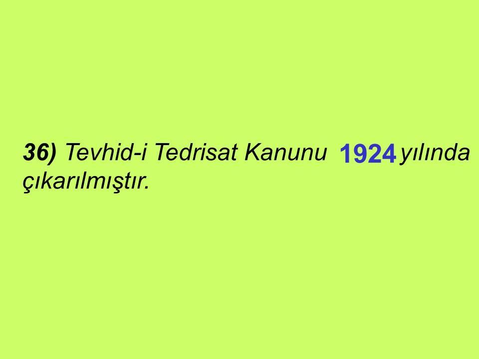 35) Türkiye'nin eğitim politikasının ana çerçevesi sayılı yasada yer almaktadır. 1739