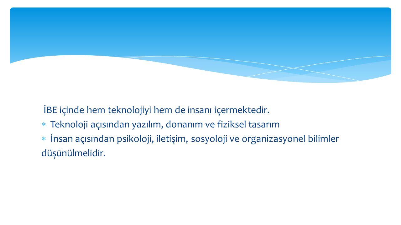 İBE içinde hem teknolojiyi hem de insanı içermektedir.
