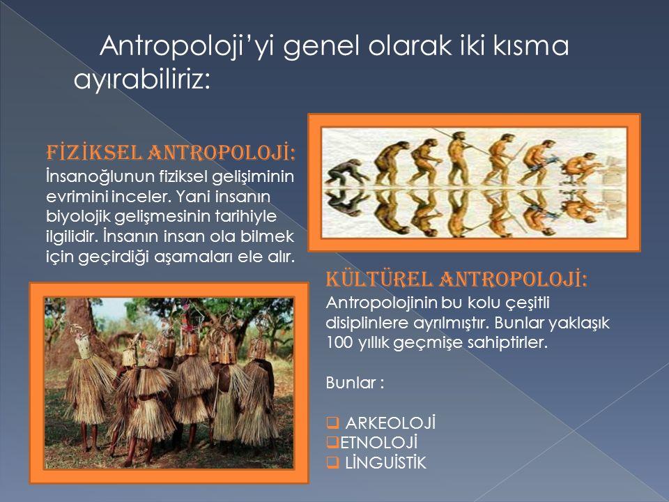 Antropoloji'yi genel olarak iki kısma ayırabiliriz: F İ Z İ KSEL ANTROPOLOJ İ : İnsanoğlunun fiziksel gelişiminin evrimini inceler.