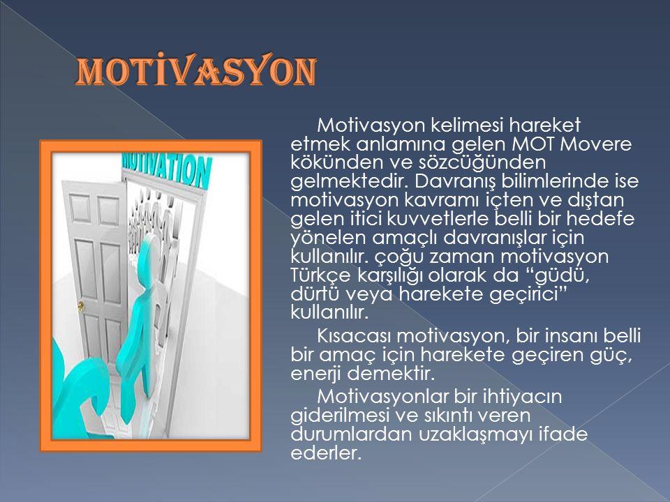 Motivasyon kelimesi hareket etmek anlamına gelen MOT Movere kökünden ve sözcüğünden gelmektedir.