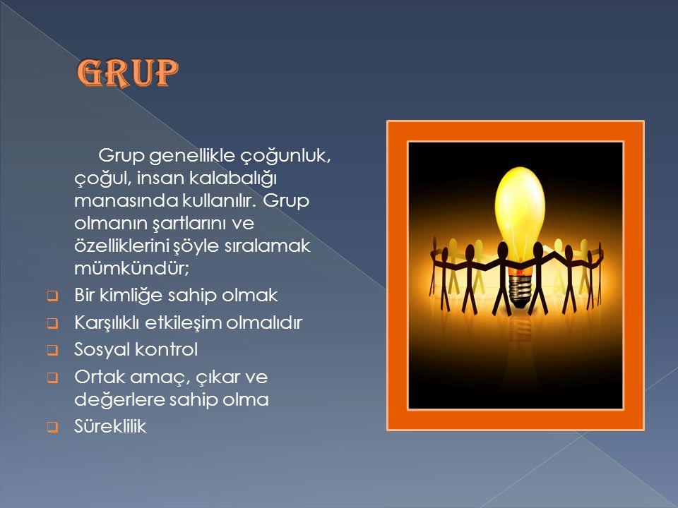 Grup genellikle çoğunluk, çoğul, insan kalabalığı manasında kullanılır.