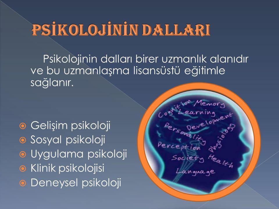 Psikolojinin dalları birer uzmanlık alanıdır ve bu uzmanlaşma lisansüstü eğitimle sağlanır.