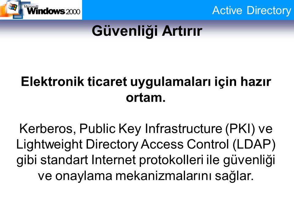Active Directory Güvenliği Artırır Elektronik ticaret uygulamaları için hazır ortam. Kerberos, Public Key Infrastructure (PKI) ve Lightweight Director